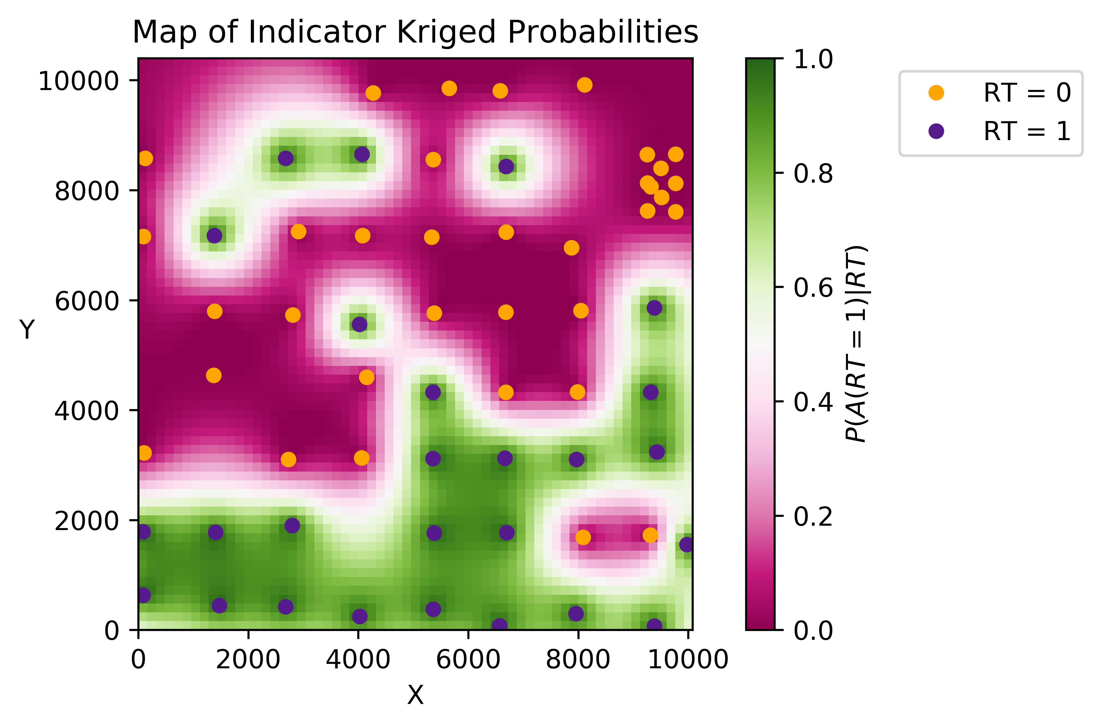 Probability of A given the surrounding data n({\mathbf{u}}) calculated by indicator kriging.