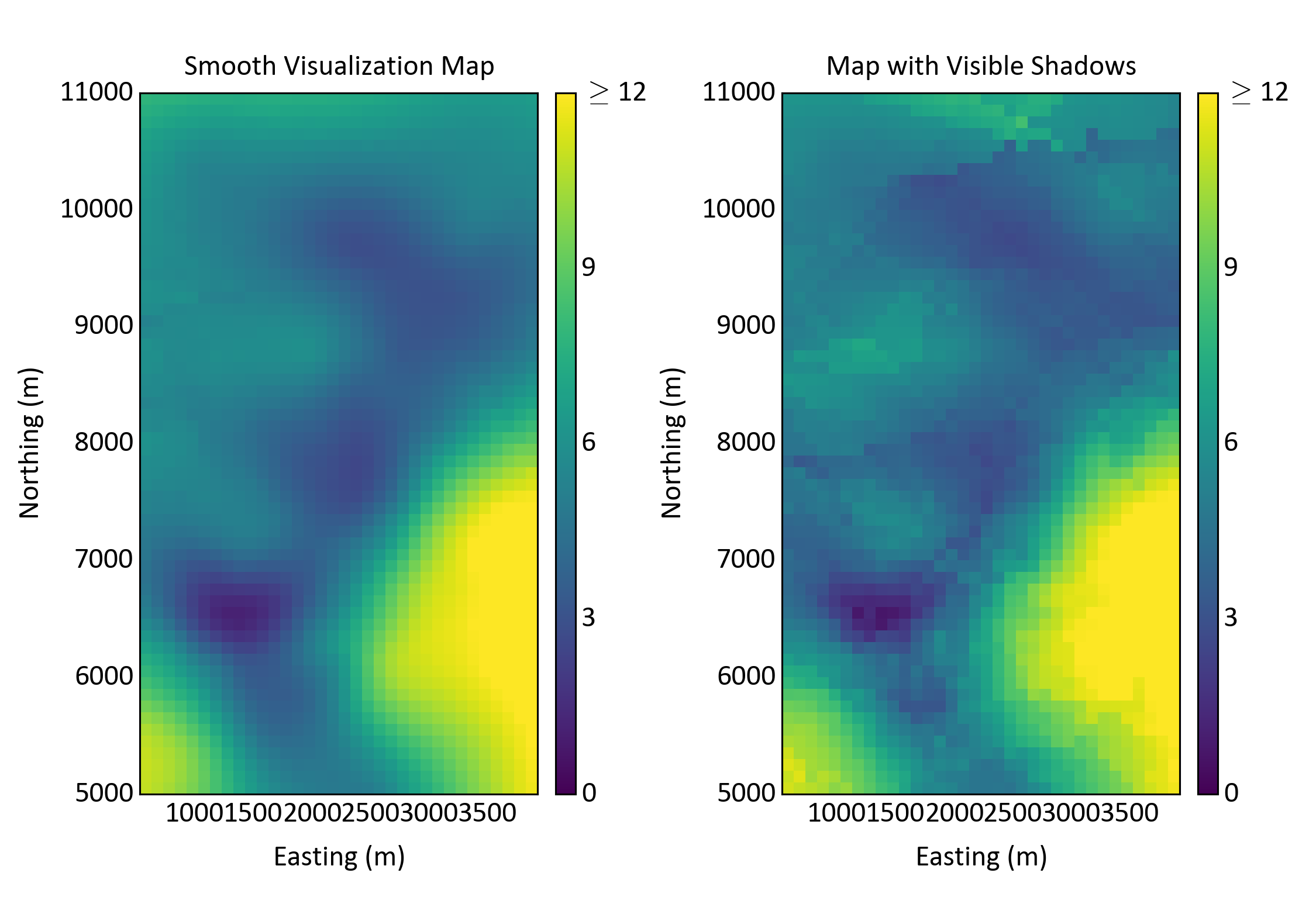 Smoothly varying visualization map (left) and a restricted search map (right) with visible shadows and artifacts.
