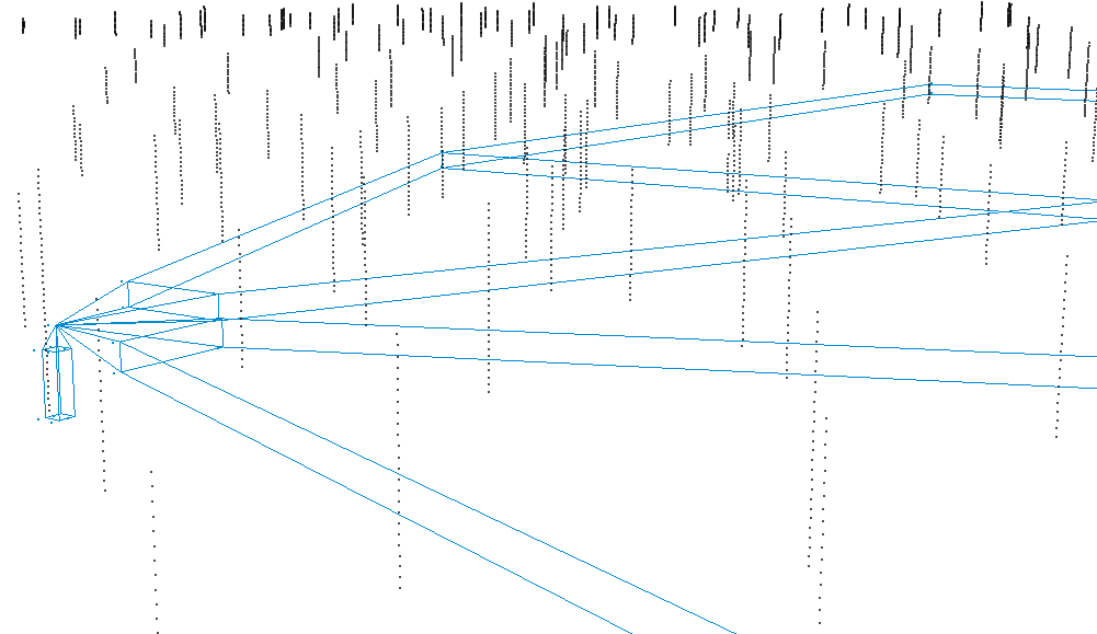 An oblique view looking north of sample locations and variogram tolerance definition for the major, minor and vertical variograms. Wireframes created with VarVisual.
